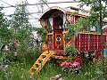 Romany caravan in The Woodcutter's Garden