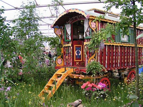 Romany caravan in The Woodcutter's Garden